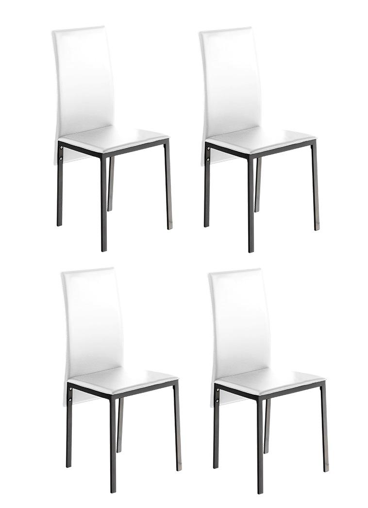 4 uds silla de cocina polipiel blanco lyon www for Sillas comedor polipiel