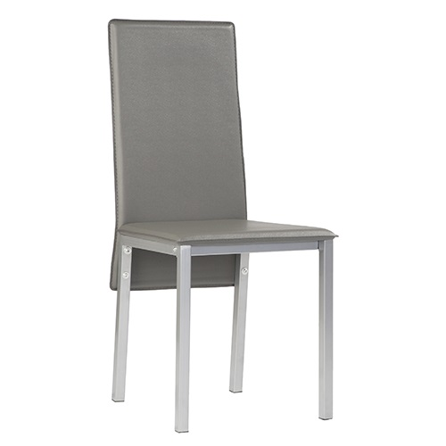 4 uds silla de cocina polipiel gris gante for Sillas cocina polipiel