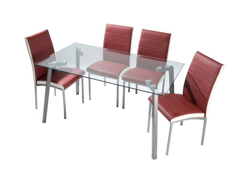 4 uds silla de comedor polipiel burdeos metz www for Sillas comedor outlet